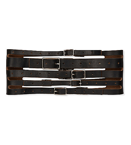 ZANA BAYNE Eve multi-strap leather belt (Black