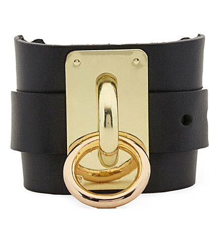 ZANA BAYNE Wide leather choker cuff (Black