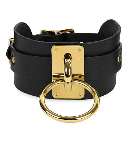 ZANA BAYNE Wide leather choker collar (Black/gold