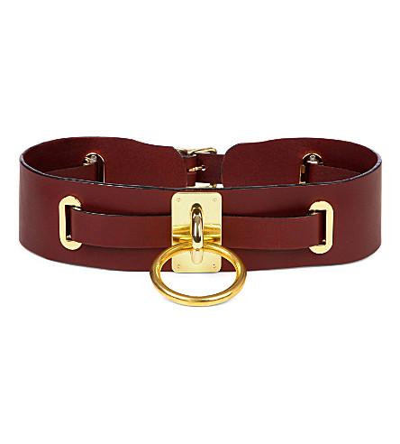 ZANA BAYNE Choker-style leather belt (Oxblood