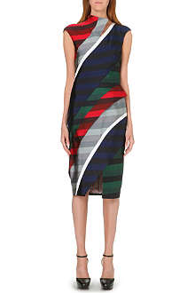 THOM BROWNE Striped silk-blend dress