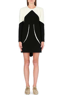 THOM BROWNE Contrast-panel wool-crepe dress