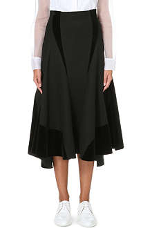 THOM BROWNE Velvet-panel wool midi skirt
