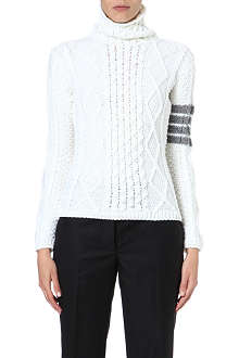 THOM BROWNE Turtle-neck cable-knit jumper