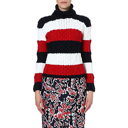 THOM BROWNE Striped turtleneck jumper (Red/white/blue