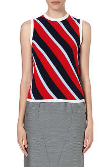THOM BROWNE Striped cashmere vest