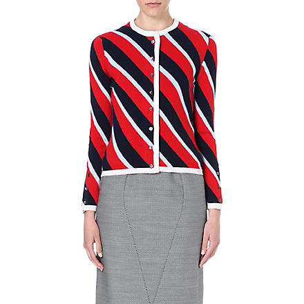 THOM BROWNE Striped cashmere cardigan (Reb/blue/navy
