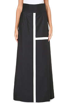 THOM BROWNE Wide-leg flared wool-blend trousers