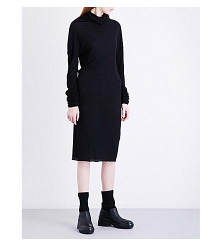 ISABEL BENENATO Turtleneck cotton and wool-blend dress (Black
