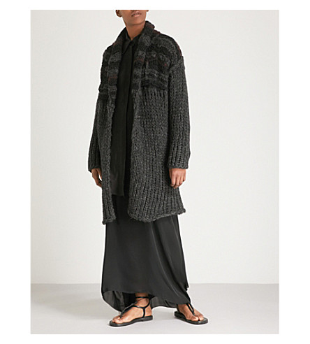 ISABEL BENENATO Alpaca and wool-blend chunky-knit cardigan (Graphite