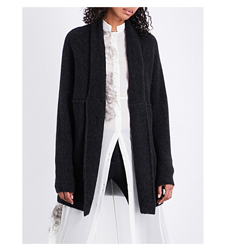 ISABEL BENENATO Exposed-seam wool-blend cardigan (Graphite