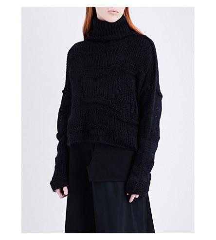 ISABEL BENENATO Turtleneck textured yak, mohair and alpaca-blend jumper (Black