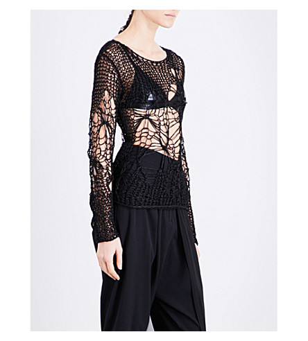 ISABEL BENENATO Web-knit mohair and silk-blend top (Black
