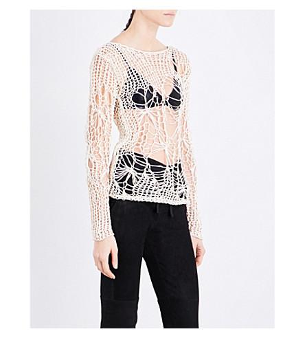 ISABEL BENENATO Web-knit mohair and silk-blend top (Milk