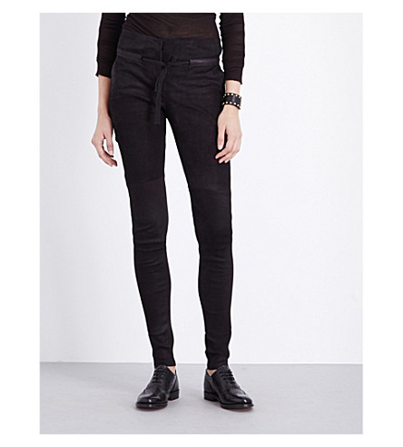 ISABEL BENENATO Skinny high-rise leather biker trousers (Black
