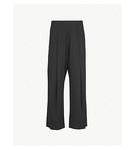 ISABEL BENENATO Pleated wide-leg high-rise wool trousers (Black