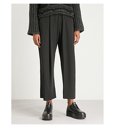 ISABEL BENENATO Pleated wide-leg high-rise wool trousers (Black