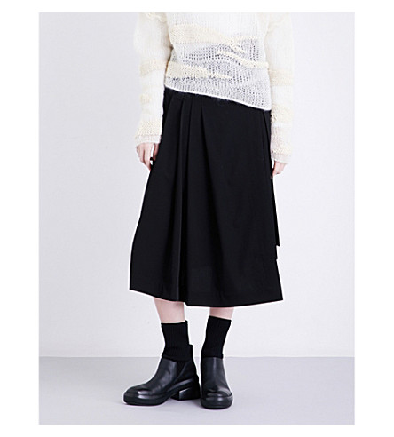 ISABEL BENENATO Wrap-over high-rise virgin wool skirt (Black