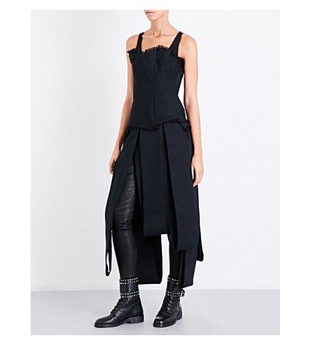 ISABEL BENENATO Asymmetric denim dress (Black