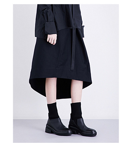 ISABEL BENENATO Asymmetric-hem high-rise cotton-twill skirt (Black
