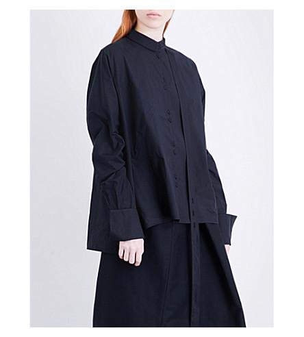 ISABEL BENENATO Asymmetric-collar oversized cotton-poplin shirt (Black