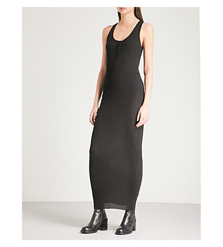 ISABEL BENENATO Sleeveless cotton-blend dress (Black