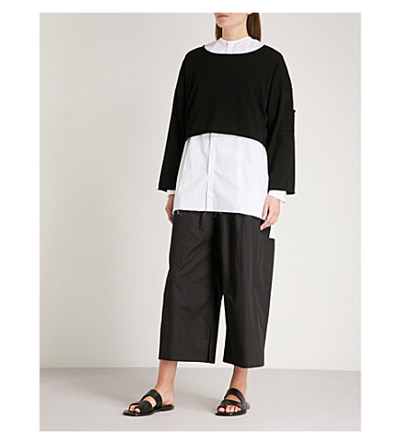 ISABEL BENENATO Dropped-sleeve cropped knitted jumper (Black