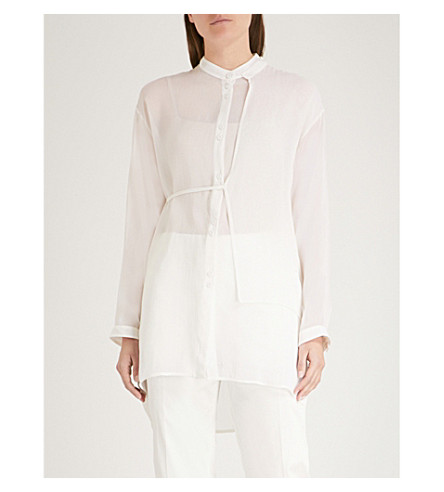 ISABEL BENENATO Asymmetric-panel chiffon shirt (Milk
