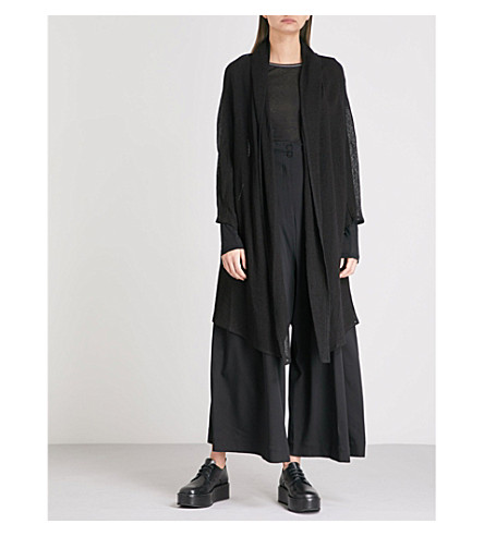 ISABEL BENENATO Suspender wide-leg high-rise crepe trousers (Black