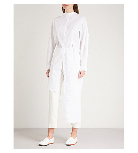 ISABEL BENENATO Waterfall-hem cotton shirt (White