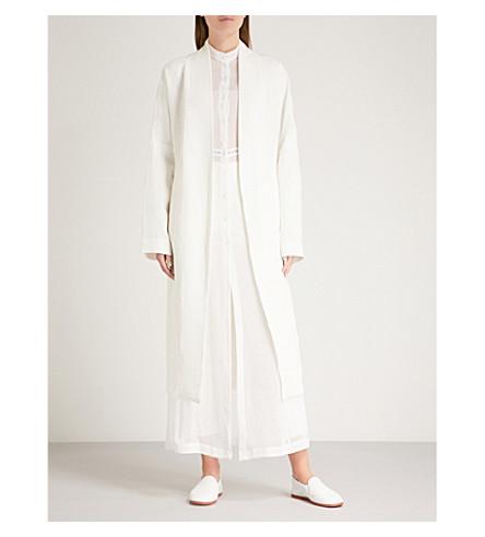 ISABEL BENENATO Belted linen trench coat (Milk