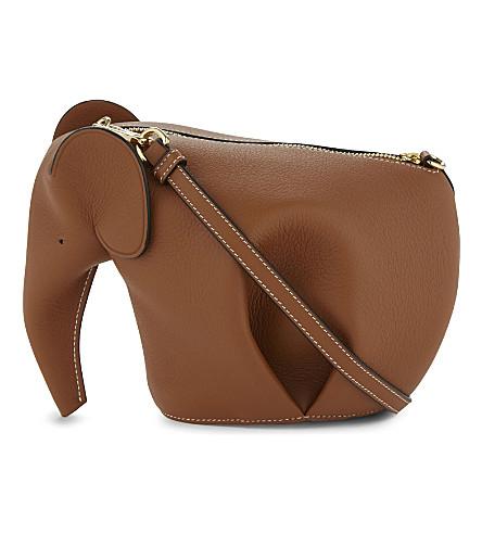 LOEWE Elephant mini leather shoulder bag (Tan/white