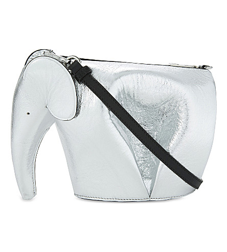 LOEWE Elephant mini metallic leather shoulder bag (Silver