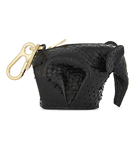 LOEWE Elephant snake-embossed leather coin purse (Black