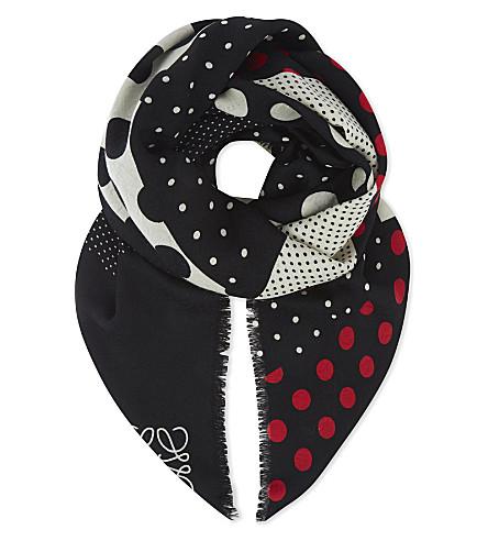 LOEWE Polka dot wool and silk-blend scarf (Multicolor/grey