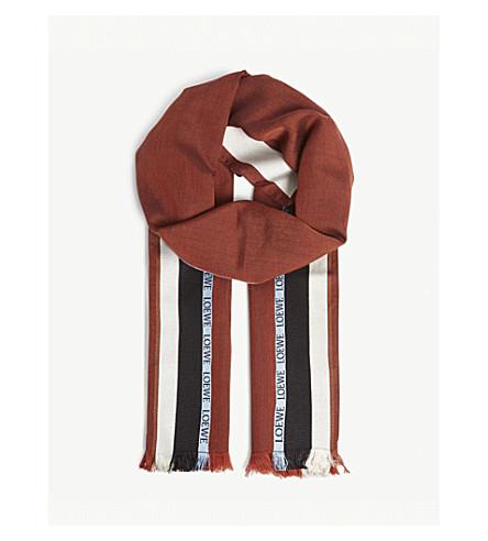 LOEWE 徽标丝绸混纺围巾 (巧克力