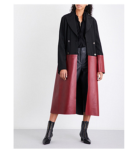 LOEWE Double-breasted satin and leather coat (Black/burgundy
