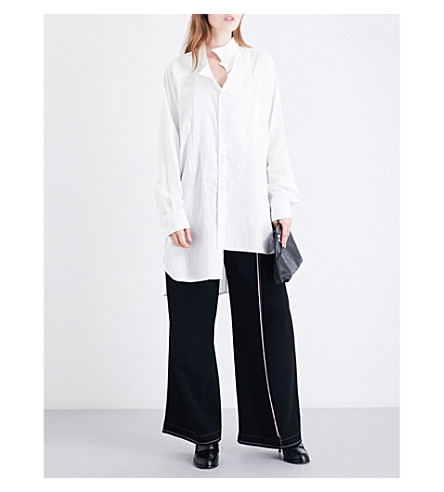 LOEWE Asymmetric-collar oversized cotton shirt (White