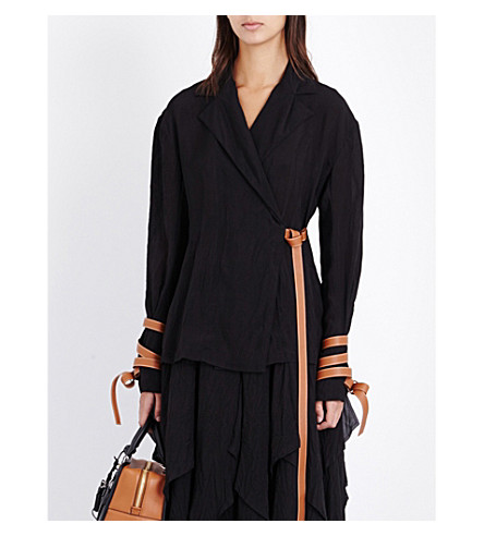 LOEWE Leather-detail crepe wrap jacket (Black
