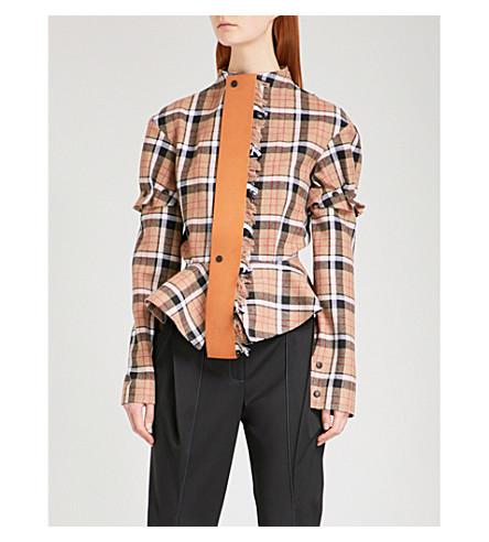 LOEWE Checked peplum-hem wool-blend jacket (Beige/brown