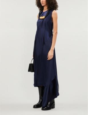 Asymmetric ruched satin maxi dress
