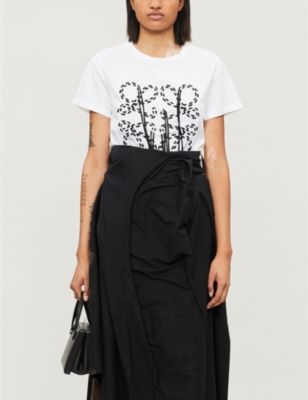 Anagram-embroidered cotton-jersey T-shirt