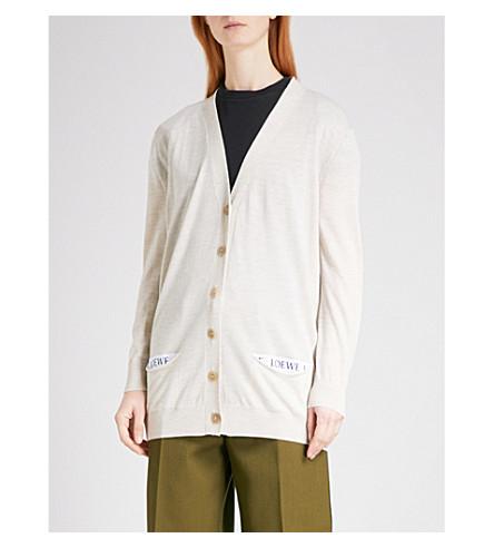 LOEWE Longline wool cardigan (Off-white