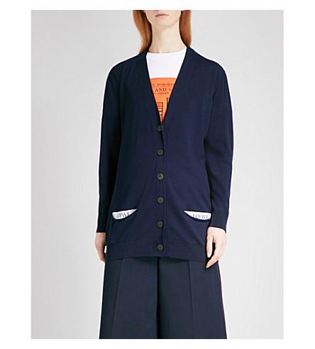 LOEWE Longline wool cardigan (Petroleum