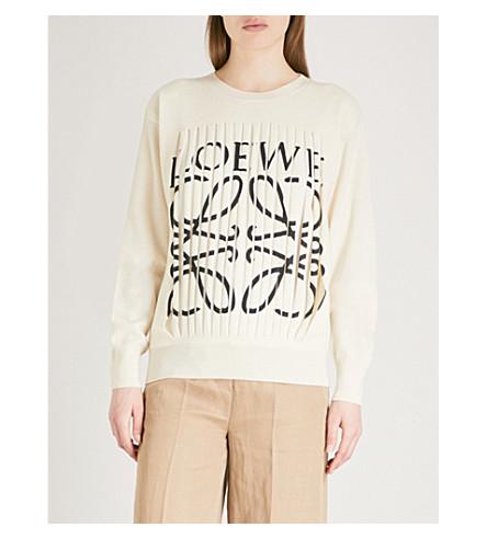 LOEWE Slashed logo-print cashmere jumper (Off-white