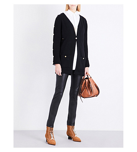 LOEWE Gold button-embellished wool cardigan (Black