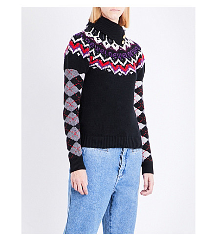 LOEWE Argyle wool, silk and cashmere-blend jumper (Black/multicolor