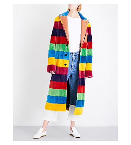 LOEWE Rainbow-striped shearling coat (Multicolour
