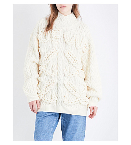 LOEWE Cable-knit wool jumper (Off-white