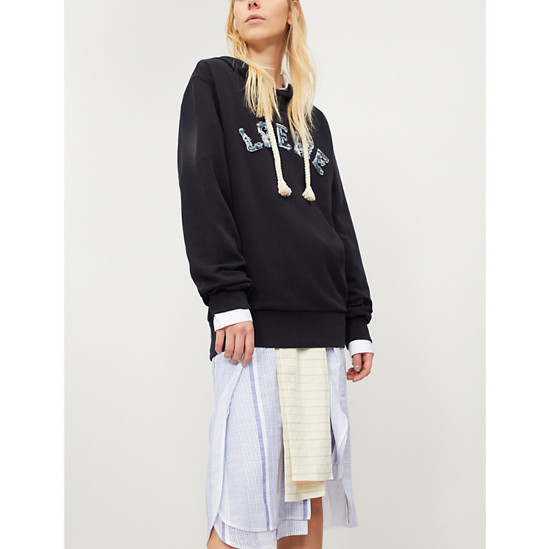 DISTRESSED LOGO-EMBROIDERED COTTON HOODY